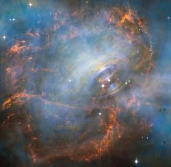 Neutronovou strukturou je i závěrečné stádium hvězd jimž říkáme  neutronové hvězdy. Jedna taková sídlí i v centru Krabí mlhoviny. Neutronové hvězdy jsou objekty velké jen okolo deseti kilometrů, zato s obludnou hmotností převyšující naše Slunce. Neutrony by v nich měli oplývat vlastnostmi neutronového plynu. Nynější výzkum napovídá, že by mohlo jít o podobné stavy neutrové rezonance, jako byly nyní objeveny u tetraneutronů. (Kredit: ESA)