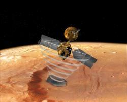 Americká sonda MRO svým radarem SHARAD slídí pod povrchem Marsu po zmrzlé vodě až do hloubky jednoho kilometru. (Kredit: NASA/JPL)