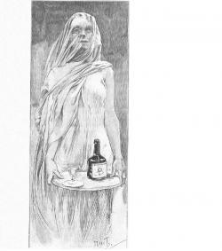 """Alfonz Mucha svou grafiku doplnil textem: """"Po vypití Vin Mariany samotné mumie vstanou a chodí""""."""