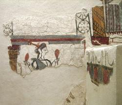 Bohyně nebo kněžka s klasy, levá dolní část (dolní panel) fresky Kredit: AlMare, Wikimedia Commons. Licence CC 3.0.Bohyně nebo kněžka s klasy, levá dolní část (dolní panel) fresky Kredit: AlMare, Wikimedia Commons. Licence CC 3.0.