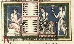 Deska na vrhcáby (triktrak), Codex Buranus (Carmina Burana), 13. století. Kredit: Trey314159, Wikimedia Commons.
