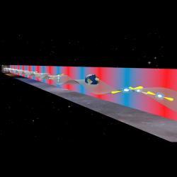 Zachytíme šepot nízkofrekvenčních gravitačních vln. Kredit: B. Saxton (NRAO/AUI/NSF).