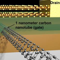 Průlomový nanotranzistor. Kredit: Sujay Desai / UC Berkeley.