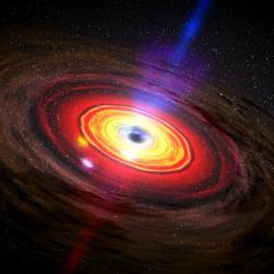 Aktivní galaktické jádro. Kredit: NASA / Dana Berry / SkyWorks Digital.