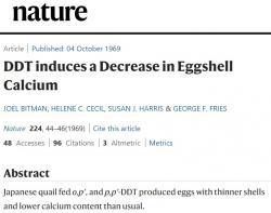 V roce 1969 chemik Joel Bitman publikuje v časopise Nature výsledky pokusu s DDT. Jeho zkrmování ptákům má ztenčovat skořápky. Stává se roznětkou vášnivých diskusí trvajících do dnešních dnů. doi.org/10.1038/224044a0