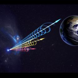 Rychlý rádiový záblesk zhlubokého vesmíru. Kredit: Jingchuan Yu, Beijing Planetarium.
