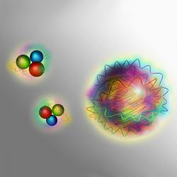 Vlevo nukleony, vpravo přízračný glueball. Kredit: TU Wien.