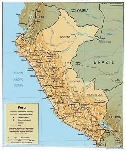 Mapa hornatého Peru.