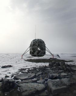 Analog měsíčního habitatu Lunark vdrsných podmínkách Grónska. Kredit SAGA Space Architects