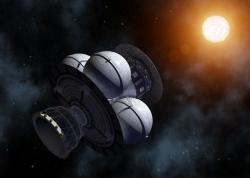 Odlet vesmírné lodi Daedalus od Jupitera a jeho přílet k Barnardově šipce. (zdroj Adrian Mann)