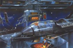 Jaderné zdroje by měly umožnit kolonizaci vesmíru, zatím se tak děje jen v představách vědecké fantastiky (obrázek Teodora Rotrekla)