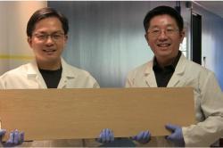 Liangbing Hu (vlevo) a Teng Li (vpravo)z Katedry materiálového výzkumu a inženýrství University of Maryland, členové týmu, který prozkoumal způsob, jak dřevu desetkrát zvýšit pevnost a tuhost. Credit: University of Maryland