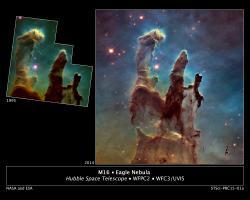 Sloupy stvoření po téměř dvaceti letech. Původní slavní snímek z Hubblova vesmírného teleskopu zroku 1995 a novější, mnohem přesnější zroku 2014.Kredit: NASA/ESA/Hubble Heritage Team (STScI/AURA)/J. Hester, P. Scowen (Arizona State U.)