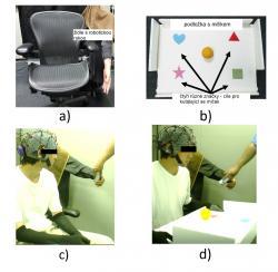 Experimentální sestava: a) židle s robotickou rukou, b) podložka se čtyřmi obrazci pro úkol s ovládáním kutálejícího se míčku, c) jednoduchý úkol – myšlenkami přinutit uchytit podávanou lahev, podržet a pak ji opět podat, d) test ovládání tří končetin u dvou souběžných úkolů. Kredit: Penaloza and Nishio, Sci. Robot. 3, eaat1228 (2018)