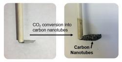 Kvalitní uhlíkové nanotrubičky smalým průměrem na neřezové katodě pokryté tenkou vrstvičkou železa (kredit: Pint Lab, Vanderbilt University)