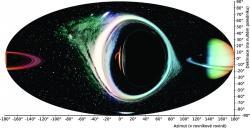Obr 4:  Výhled pozorovatele od rotující černé díry, vzdáleného od horizontu událostí o pětinásobek jeho poloměru. Kredit: P. Bakala.
