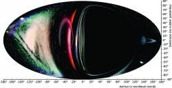 Obr 5:  Výhled pozorovatele ponořeného do ergosféry extrémně rychle rotující černé díry. Kredit: P. Bakala.