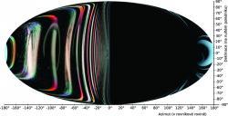 Obr 6:  Výhled pozorovatele, který je téměř u horizontu událostí extrémně rychle rotující černé díry. Kredit: P. Bakala.