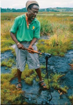 Ochotný rastafarián předvádí tekutost asfaltu z jezera