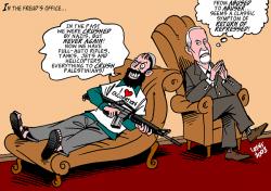 Freud má výklad, jde o návrat potlačeného obsahu. Kredit: Carlos Latuff via Wikimedia Commons.