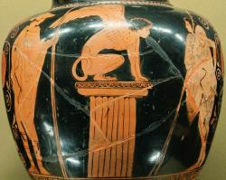 Hermés, Sfinga a Oidipús, 440 před n. l. Louvre G 417. Kredit: Marie-Lan Nguyen alias Jastrow, Wikimedia Commons.