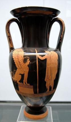 Oidipús a Sfinga, 440-430 před n. l. München SL 474. Kredit: Bibi Saint-Pol, Wikimedia Commons.