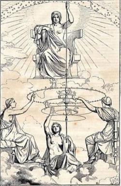 Novodobá ilustrace k Platónovu dílu. Nahoře sedí Ananké (Nutnost), dole tři Moiry (sudičky). Kredit: Anonym, Wikimedia Commons.