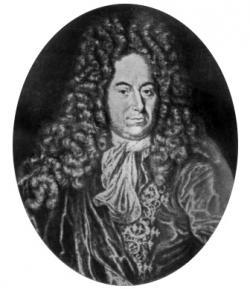Ole Christensen Rømer, dánský matematik. V roce 1676 určil na základě pozorování zákrytu Jupitera a jeho měsíců rychlost světla. Je po něm pojmenován kráter Römer na přivrácené straně Měsíce.  (Kredit: Wikipedia)