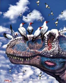 O inteligenci, vytříbenosti smyslů i anatomii mozku tyranosaura se vědci v poslední době dozvídají množství nových informací. Jisté je, že se na poměry své velikosti jednalo o relativně inteligentního teropoda s velmi dobrým čichem, zrakem i sluchem a navíc o predátora vybaveného schopností vnímat zvuky, které by například člověk nemusel vůbec slyšet. Kredit: Luis V. Rey, ilustrace z publikace DINOSAURS: The Most Complete, Up-to-Date Encyclopaedia for Dinosaur Lovers of All Ages od Thomase R. Holtze, Jr.