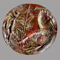 Mínójské pečetítko. Jaspis, průměr 24 mm, kolem roku 1500 před n. l. Kredit: Wikimedia Commons.