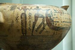 Théseus s Ariadnou, nebo Paris unáší Helenu? Loď se dvěma řadami veslařů. Athénský geometrický kratér z Théb, 735-720 před n. l. Britské muzeum, GR 1.899.2-19.1. Kredit: Zde, Wikimedia Commons. Licence CC 4.0.