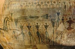 Duše už odešla, mrtvé tělo zůstalo. Prothesis: vystavení a oplakávání mrtvého. Detail pozdně geometrického fragmentu z pohřebiště u Dipylon v Athénách, 750 před n. l., malíř zvaný dnes Dipylon Master. Louvre, A 517. Kredit: Marie-Lan Nguyen alias Jastrow, Wikimedia Commons. Public domain.