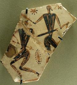Bojová scéna na fragmentu z pohřebiště u Dipylon v Athénách, 750-725 před n. l. Louvre, A 522-560 1. Kredit: Marie-Lan Nguyen alias Jastrow, Wikimedia Commons. Public domain.