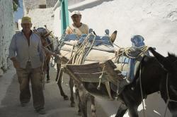 Zedníci na cestě k práci ve vsi Lagada na Amorgu. Kredit: Zde, Wikimedia Commons.