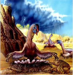 Hlavním cílem genetiků v Jurském parku bylo přivést zpět k životu neptačí druhohorní dinosaury. Cesta k úspěšnému vylíhnutí životaschopných dinosaurků z umělých vajec je ale velmi trnitá. Zde přirozenější (již brzký) příchod na svět v podání mongolských oviraptoridů. Kredit: Luis V. Rey, převzato se svolením z jeho blogu.