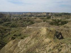 Malebná scenérie geologických vrstev na území Státního parku Hell Creek. Právě zde byl v roce 1902 Barnumem Brownem objeven první rozeznaný a později vědecky popsaný exemplář druhu Tyrannosaurus rex. Kredit: Vlastní snímek autora.