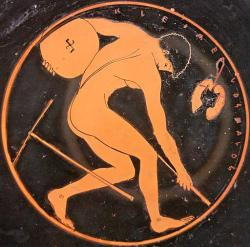 """Diskobolos, s nápisem """"Kleomelos (je) krásný"""". 510–500 př. n. l. Louvre. Kredit: Kleomelos Painter via Marie-Lan Nguyen, Wikimedia Commons."""