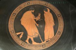 """Muž přináší chlapci (popsanému jako """"kalos, krásný"""") dárek, 5. století př. n. l. Ashmolean Museum, Oxford. Kredit: Zde, Wikimedia Commons."""