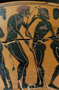 Muž a chlapec v archaické době, 530–520 př. n. l. Louvre. Kredit: Marie-Lan Nguyen alias Jastrow, Wikimedia Commons.