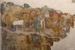Nástěnná malba z kostela Bohorodičky v oblasti Apeiranthu, z roku 1281, detail. Kredit: Zde, Wikimedia Commons. Licence CC 4.0.