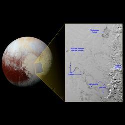 Ledové kopce na moři zmrzlého dusíku, Pluto. Kredit: NASA / JHUAPL / SwRI.