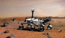 Pohyblivá laboratoř MSL na Marsu (zdroj NASA).