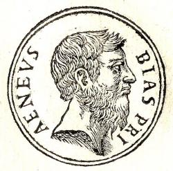 Biás z Priény, fiktivní portrét ve stylu překresby mince, roku 1553. Kredit: Guillaume Rouille, Wikimedia Commons.