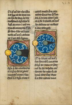 Diagram zemského polostínu (vlevo) a plného stínu (vpravo). Iluminace z pozdního 13. století. Getty center (California). Kredit: JgFRcI7gLXKP2Q at Google Cultural Institute via Wikimedia Commons.