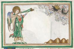 Scéna z Apokalypsy: Čtvrtý anděl troubí, 13. století. Pokud by zatmělé Slunce a zatměný Měsíc stály takhle vedle sebe, tak už by to možná byla ta Apokalypsa. Kredit: British Library via Wikimedia Commons.