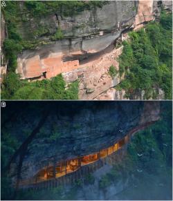 """Nahoře snímek části skalního """"zářezu"""", v němž byly dochovány fosilní otisky stop dinosaurů, považované středověkými obyvateli tohoto místa za zkamenělé květy lotosů. Níže umělecká rekonstrukce přibližné budoucí podoby této lokality, jež by měla být přeměněna v lokální turistickou atrakci. Kredit: Zhongda Chuang, odborná studie Xing et al., 2015."""