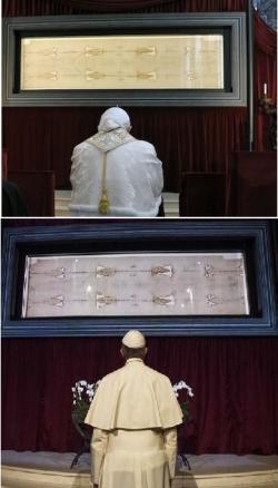Představitelé apoštolského stolce: papež Benedikt XVI. (nahoře) a  Svatý Otec František (dole), se modlí před turínským plátnem. Kredit: Catholic Herald (zde) a CNA, Vatican Media (zde).