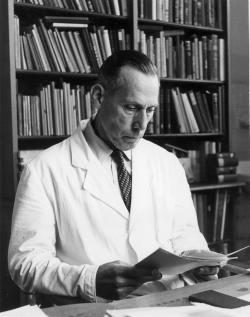 """Adolf Portmann   (1897 – 1982): """"Jsme typem neotenického primáta, u něhož mnohé juvenilní rysy přetrvávají do dospělosti"""". Kredit foto: Historisches Lexikon der Schweiz (zde)."""