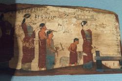 Obětní procesí s hudbou. Velevzácná desková malba, 540–530 před n. l. Kredit: Wikimedia Commons.
