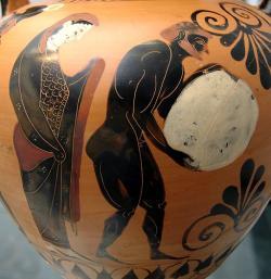 Královna podsvětí Persefoné a Sísyfos s balvanem, kolem 530 před n. l. Kredit: Wikimedia Commons.